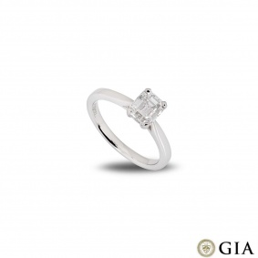 Platinum Emerald Cut Diamond Ring 1.18ct E/VVS1